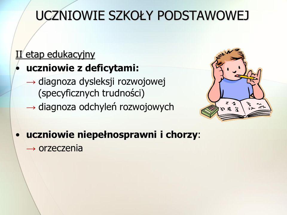 UCZNIOWIE SZKOŁY PODSTAWOWEJ II etap edukacyjny uczniowie z deficytami: → diagnoza dysleksji rozwojowej (specyficznych trudności) → diagnoza odchyleń