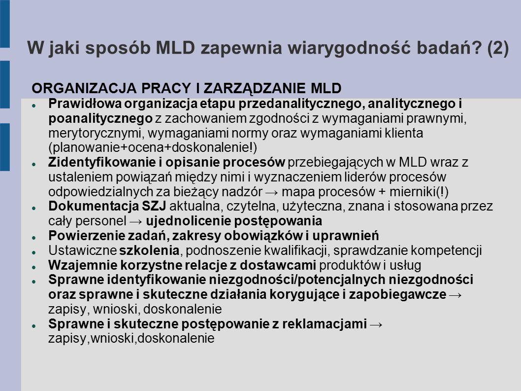 W jaki sposób MLD zapewnia wiarygodność badań? (2) ORGANIZACJA PRACY I ZARZĄDZANIE MLD Prawidłowa organizacja etapu przedanalitycznego, analitycznego