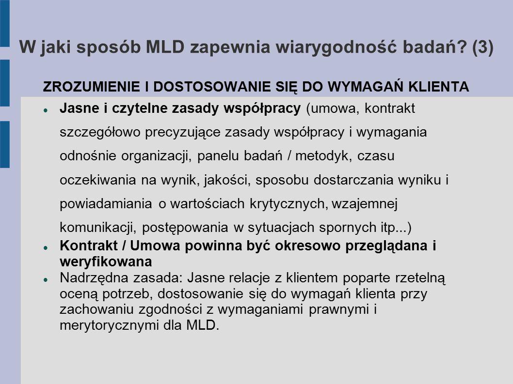 W jaki sposób MLD zapewnia wiarygodność badań? (3) ZROZUMIENIE I DOSTOSOWANIE SIĘ DO WYMAGAŃ KLIENTA Jasne i czytelne zasady współpracy (umowa, kontra
