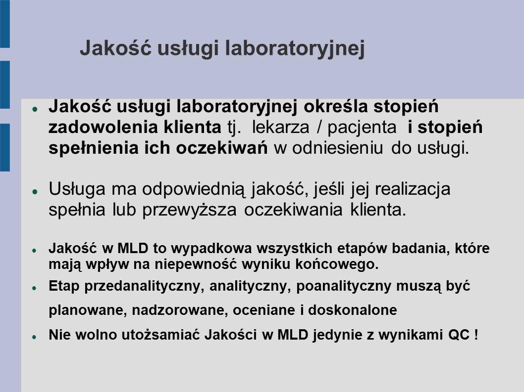 Jakość usługi laboratoryjnej Jakość usługi laboratoryjnej to wypadkowa 3 elementów: Jakość usługi (dostępność, obsługa klienta, personel, pomieszczenia, reagowanie, TAT, panel badań, informacja dla klienta) Zgodność usługi z oczekiwaniami klienta Jakość wykonania (możliwości techniczne, merytoryczny poziom wyników, dostępność konsultacji i jej jakość merytoryczna )