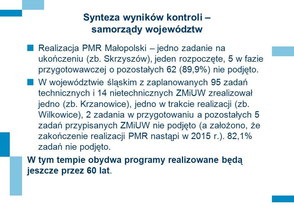 Synteza wyników kontroli – samorządy województw Realizacja PMR Małopolski – jedno zadanie na ukończeniu (zb. Skrzyszów), jeden rozpoczęte, 5 w fazie p