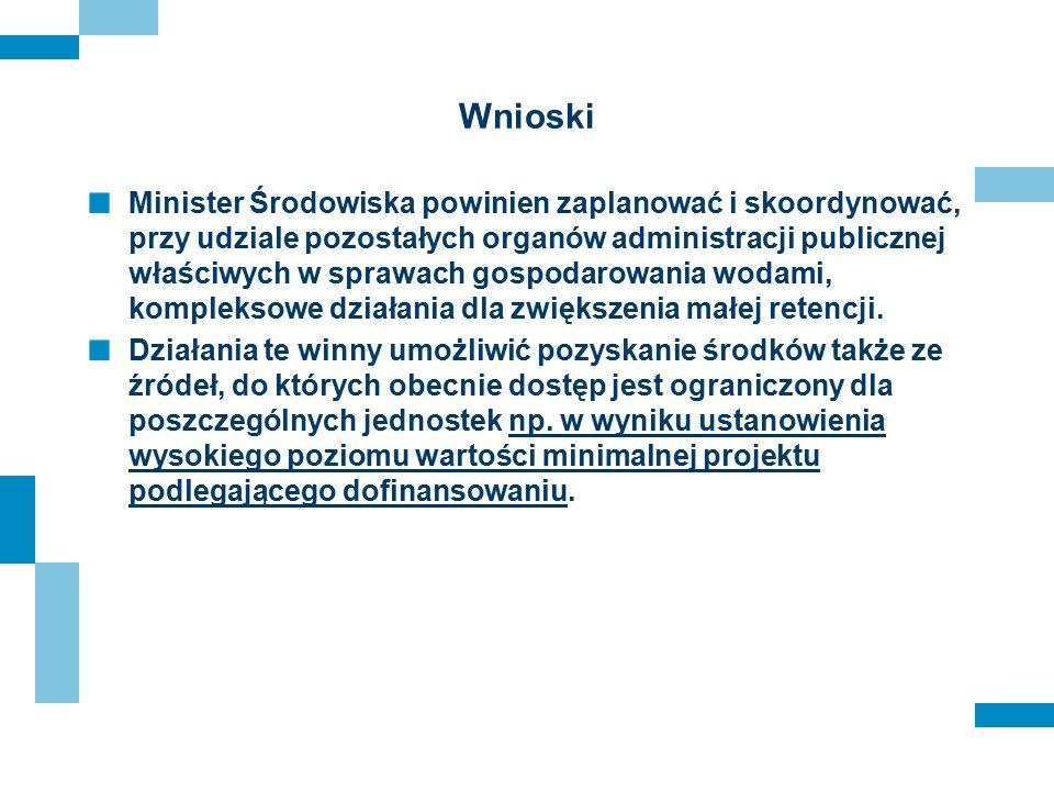 Wnioski Minister Środowiska powinien zaplanować i skoordynować, przy udziale pozostałych organów administracji publicznej właściwych w sprawach gospod