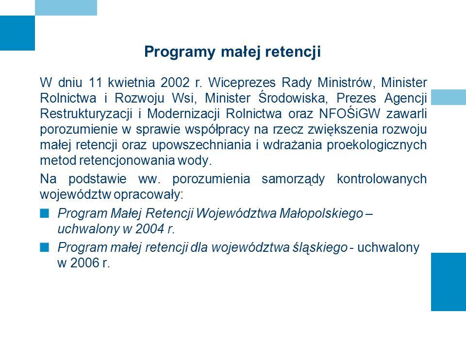 Programy małej retencji W dniu 11 kwietnia 2002 r. Wiceprezes Rady Ministrów, Minister Rolnictwa i Rozwoju Wsi, Minister Środowiska, Prezes Agencji Re