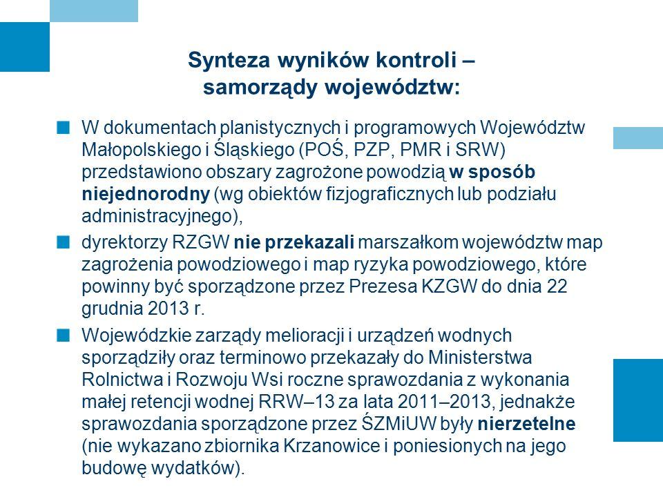 Synteza wyników kontroli – samorządy województw: W dokumentach planistycznych i programowych Województw Małopolskiego i Śląskiego (POŚ, PZP, PMR i SRW