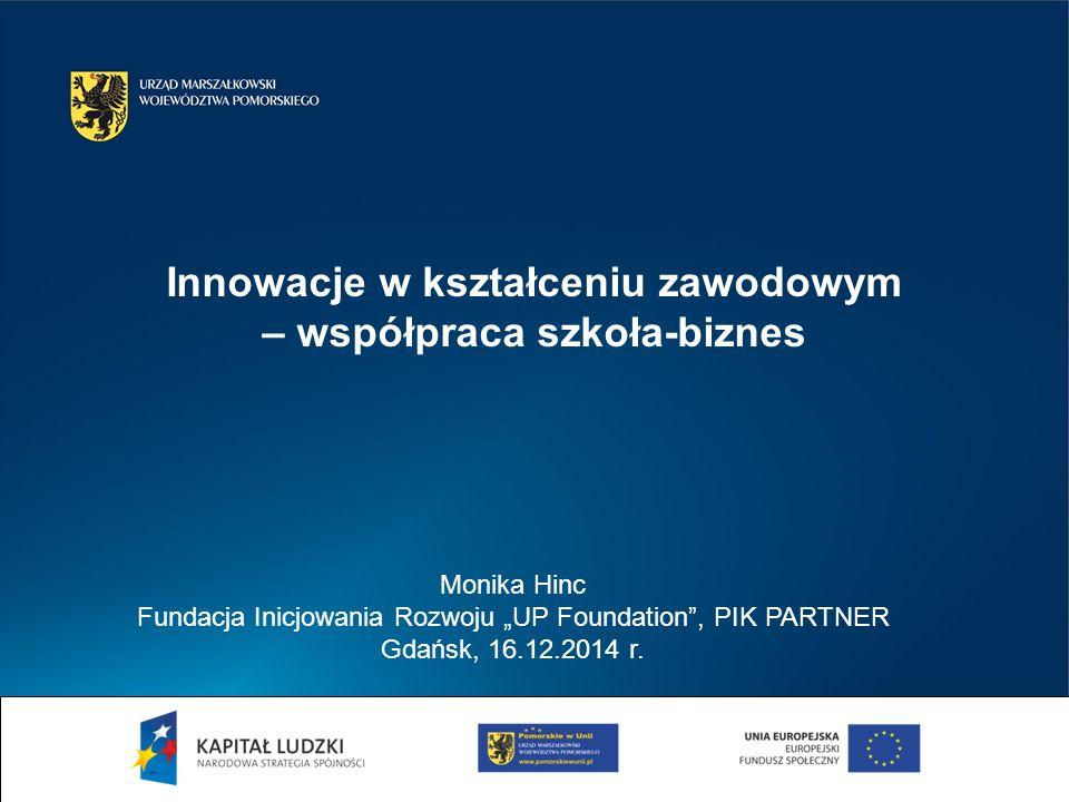 "Monika Hinc Fundacja Inicjowania Rozwoju ""UP Foundation , PIK PARTNER Gdańsk, 16.12.2014 r."