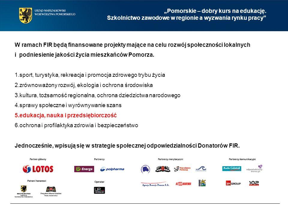 W ramach FIR będą finansowane projekty mające na celu rozwój społeczności lokalnych i podniesienie jakości życia mieszkańców Pomorza.