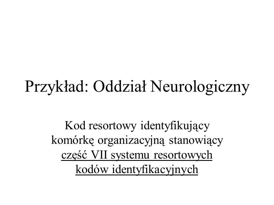 Przykład: Oddział Neurologiczny Kod resortowy identyfikujący komórkę organizacyjną stanowiący część VII systemu resortowych kodów identyfikacyjnych