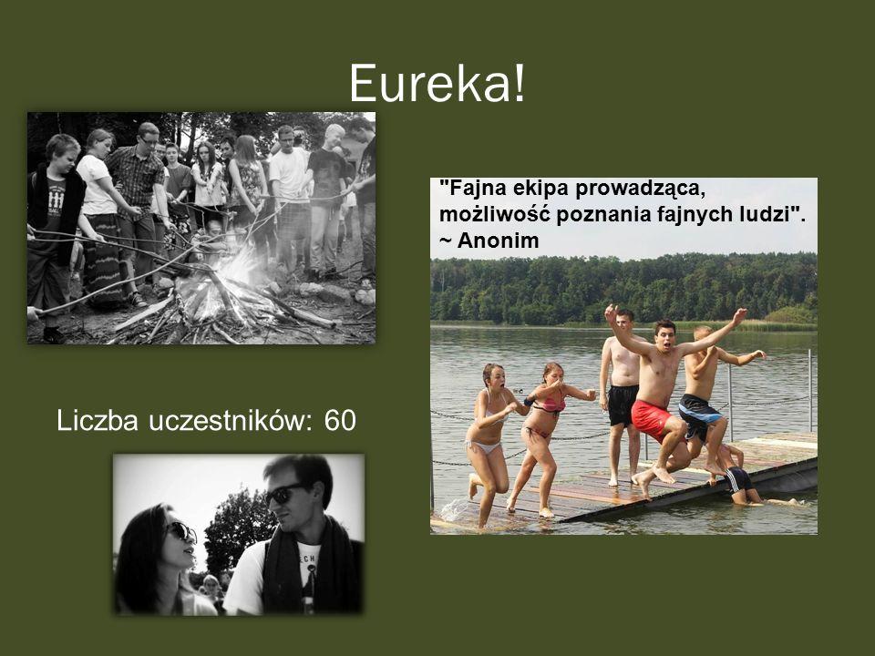 Eureka! Liczba uczestników: 60 Fajna ekipa prowadząca, możliwość poznania fajnych ludzi . ~ Anonim