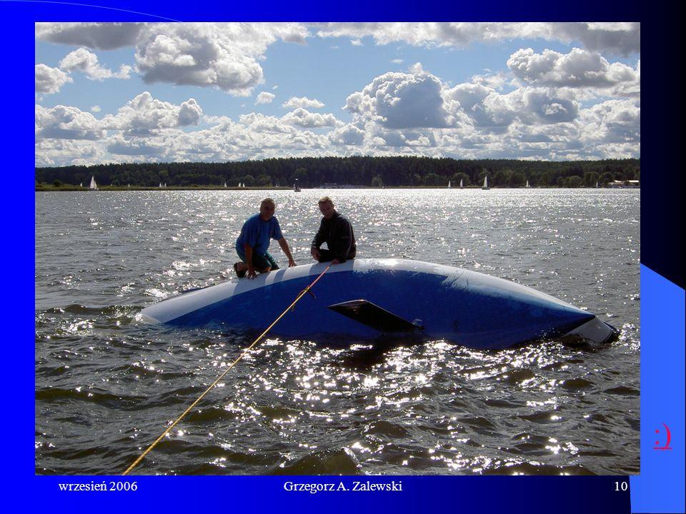 wrzesień 2006Grzegorz A. Zalewski9 Postępowanie podczas wywrotki: sprawdzenie stanu załogi założenie kamizelek ratunkowych udzielenie pomocy poszkodow