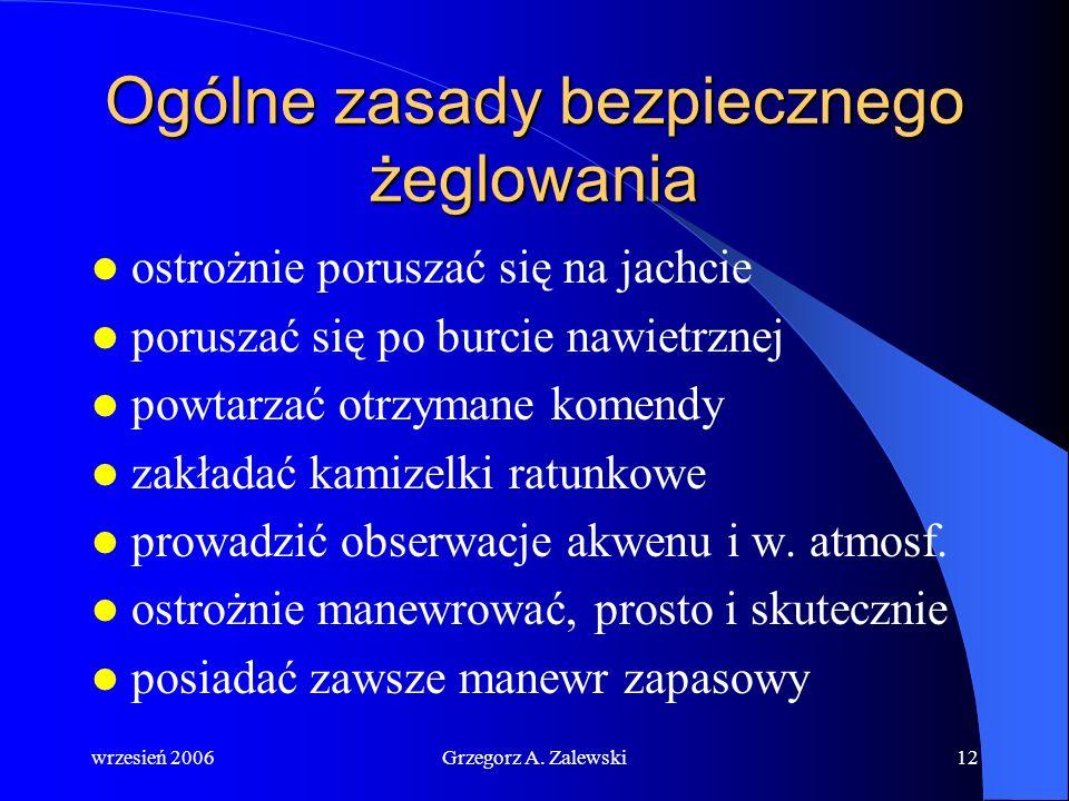 wrzesień 2006Grzegorz A. Zalewski11 Człowiek w wodzie (człowiek za burtą) (człowiek za burtą) (człowiek za burtą) W przypadku zauważenie tonącego nale