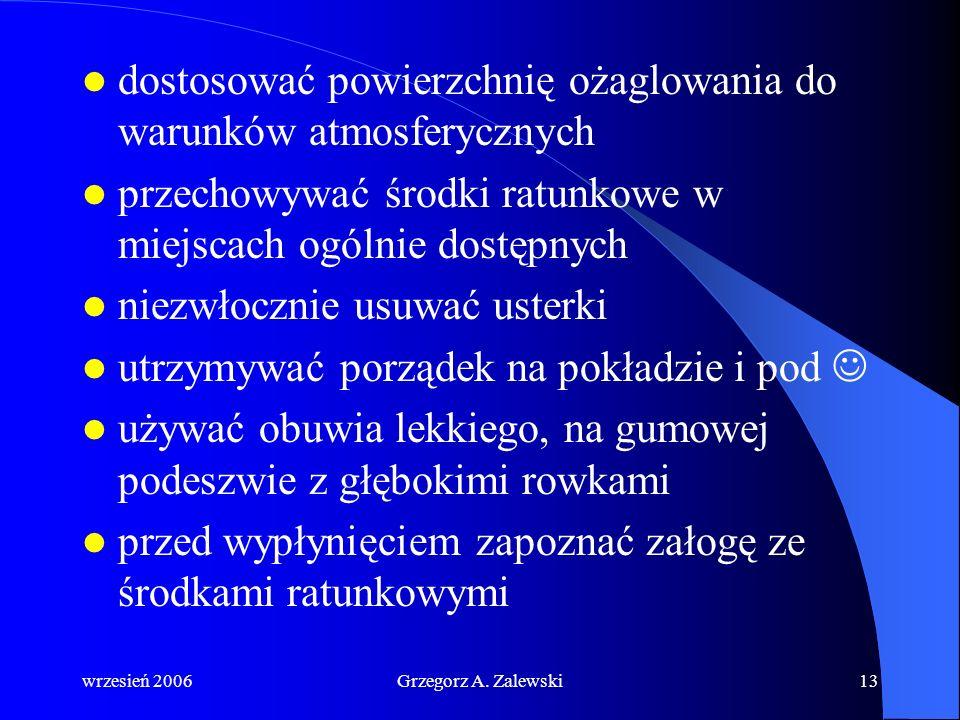 wrzesień 2006Grzegorz A. Zalewski12 Ogólne zasady bezpiecznego żeglowania ostrożnie poruszać się na jachcie poruszać się po burcie nawietrznej powtarz