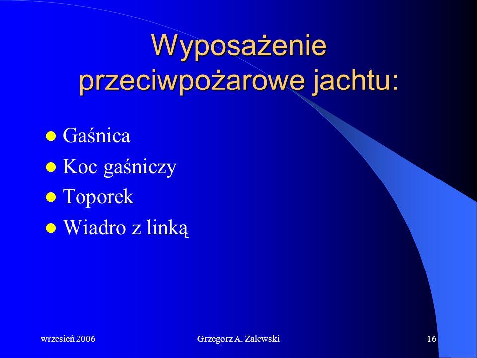 wrzesień 2006Grzegorz A. Zalewski15 Przyczyny pożaru: niedbalstwo i nieumiejętność obchodzenia się z instalacją gazową nieumiejętna eksploatacja insta