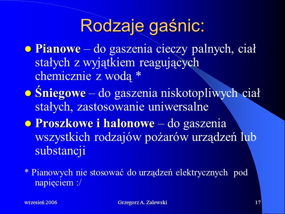wrzesień 2006Grzegorz A. Zalewski16 Wyposażenie przeciwpożarowe jachtu: Gaśnica Koc gaśniczy Toporek Wiadro z linką