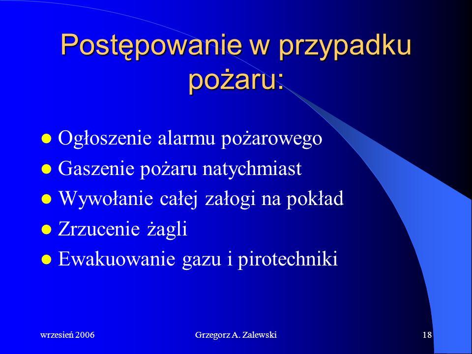 wrzesień 2006Grzegorz A. Zalewski17 Rodzaje gaśnic: Pianowe Pianowe – do gaszenia cieczy palnych, ciał stałych z wyjątkiem reagujących chemicznie z wo