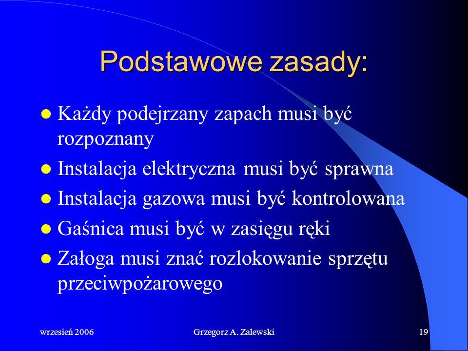 wrzesień 2006Grzegorz A. Zalewski18 Postępowanie w przypadku pożaru: Ogłoszenie alarmu pożarowego Gaszenie pożaru natychmiast Wywołanie całej załogi n