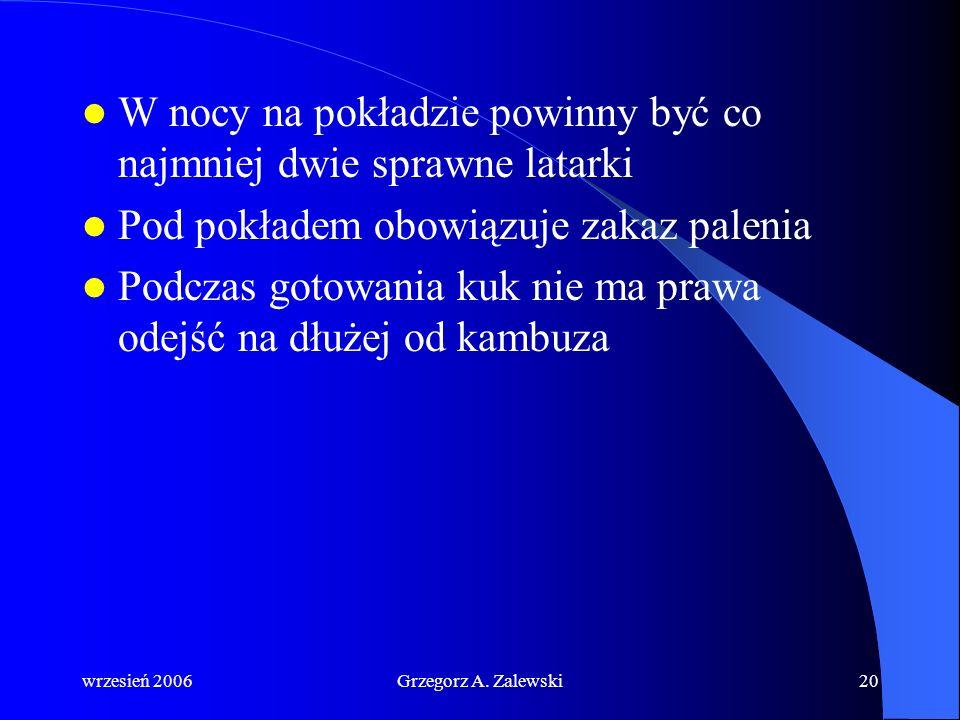 wrzesień 2006Grzegorz A. Zalewski19 Podstawowe zasady: Każdy podejrzany zapach musi być rozpoznany Instalacja elektryczna musi być sprawna Instalacja