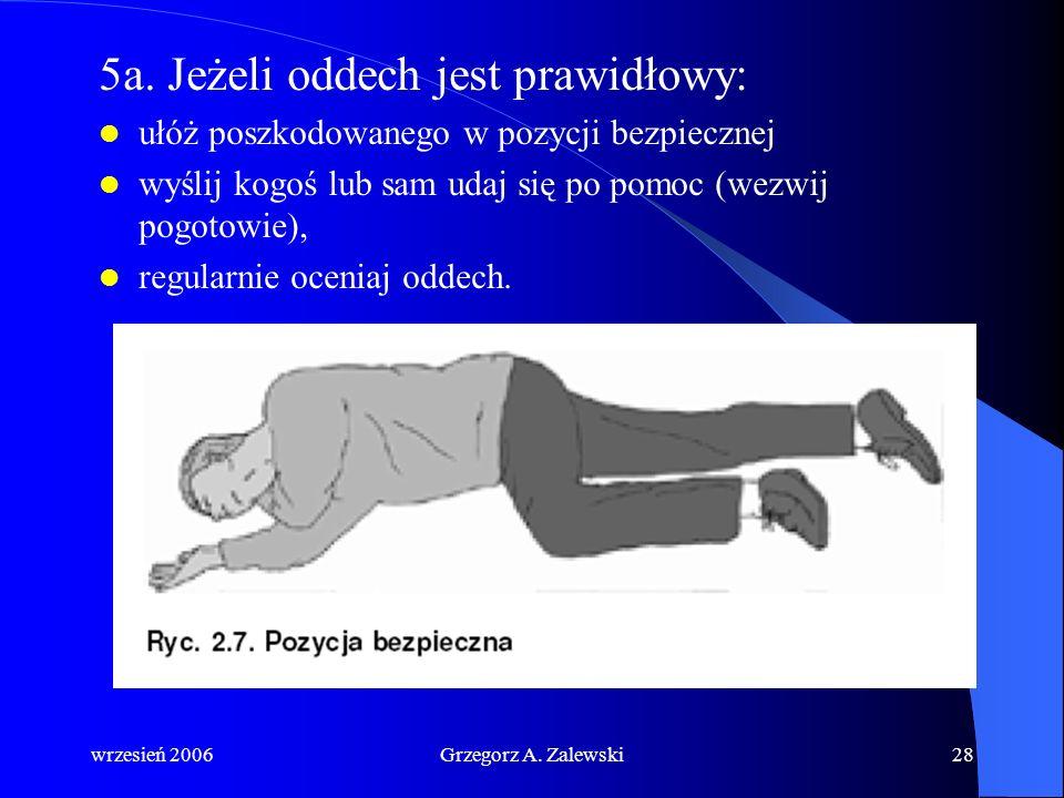 wrzesień 2006Grzegorz A. Zalewski27 4. Utrzymując drożność dróg oddechowych wzrokiem, słuchem i dotykiem poszukaj prawidłowego oddechu oceń wzrokiem r