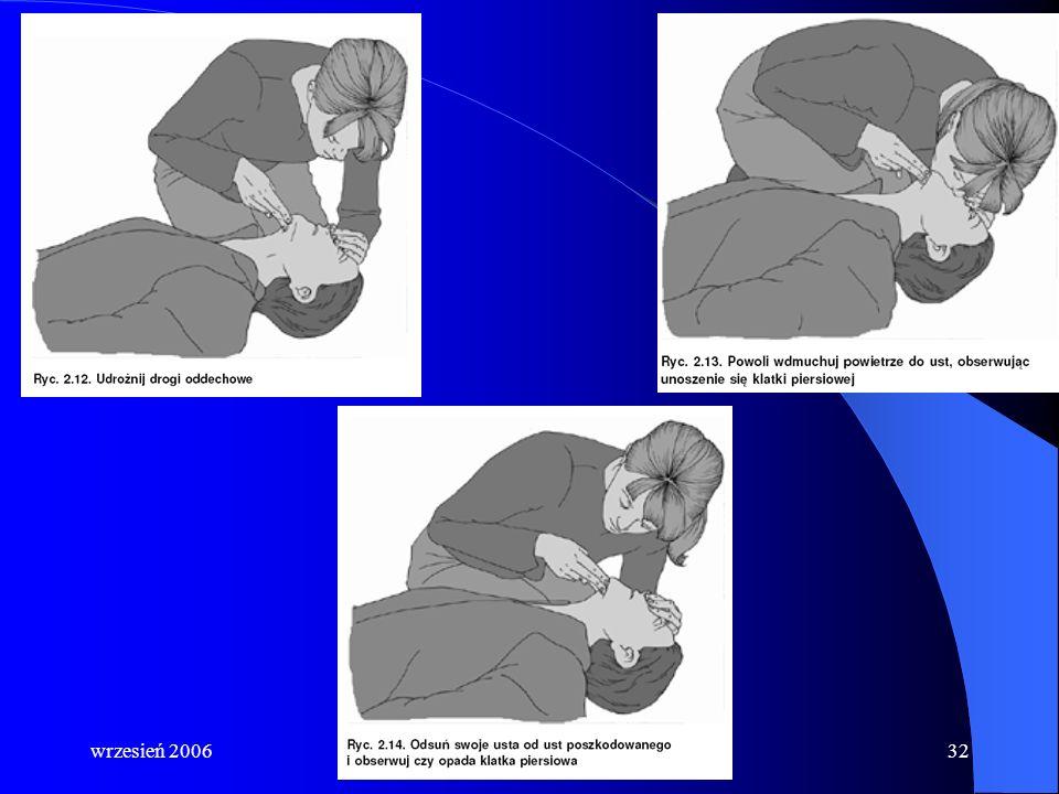 wrzesień 2006Grzegorz A. Zalewski31 6a. Połącz uciskanie klatki piersiowej z oddechami ratowniczymi: po wykonaniu 30 uciśnięć klatki piersiowej udrożn