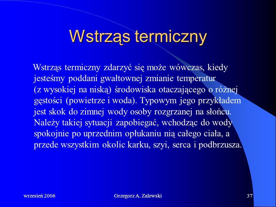 wrzesień 2006Grzegorz A. Zalewski36 Porażenie słoneczne i udar cieplny Promienie słoneczne padając na nieosłoniętą nakryciem głowę po pewnym czasie po