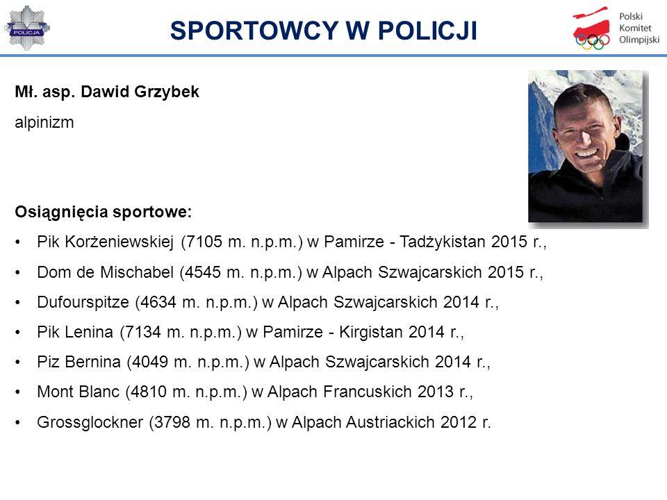 Mł. asp. Dawid Grzybek alpinizm Osiągnięcia sportowe: Pik Korżeniewskiej (7105 m. n.p.m.) w Pamirze - Tadżykistan 2015 r., Dom de Mischabel (4545 m. n