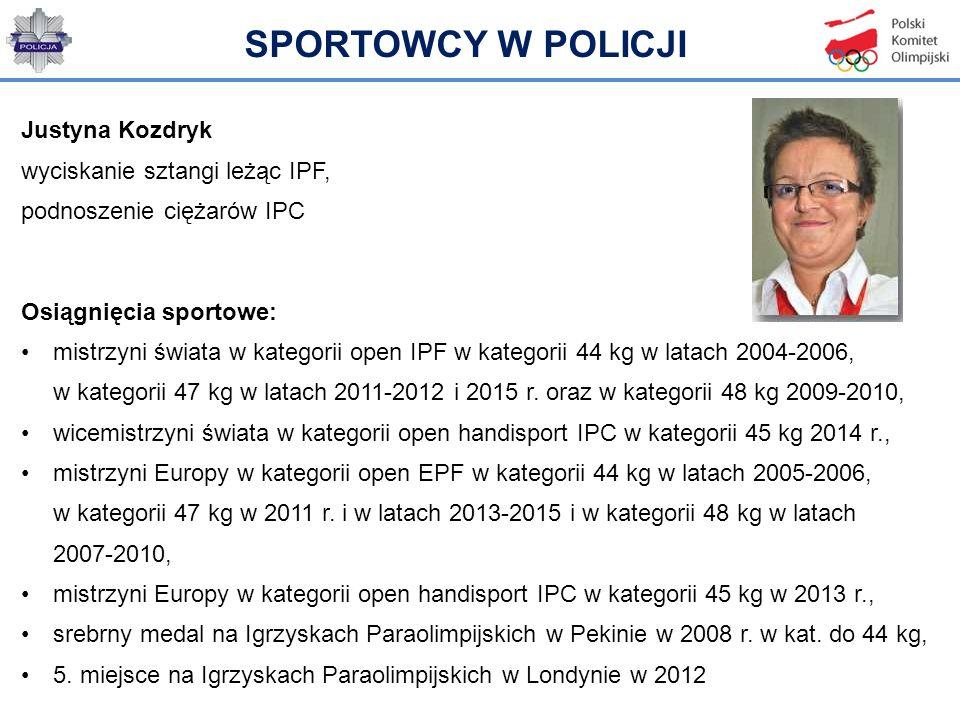 Justyna Kozdryk wyciskanie sztangi leżąc IPF, podnoszenie ciężarów IPC Osiągnięcia sportowe: mistrzyni świata w kategorii open IPF w kategorii 44 kg w