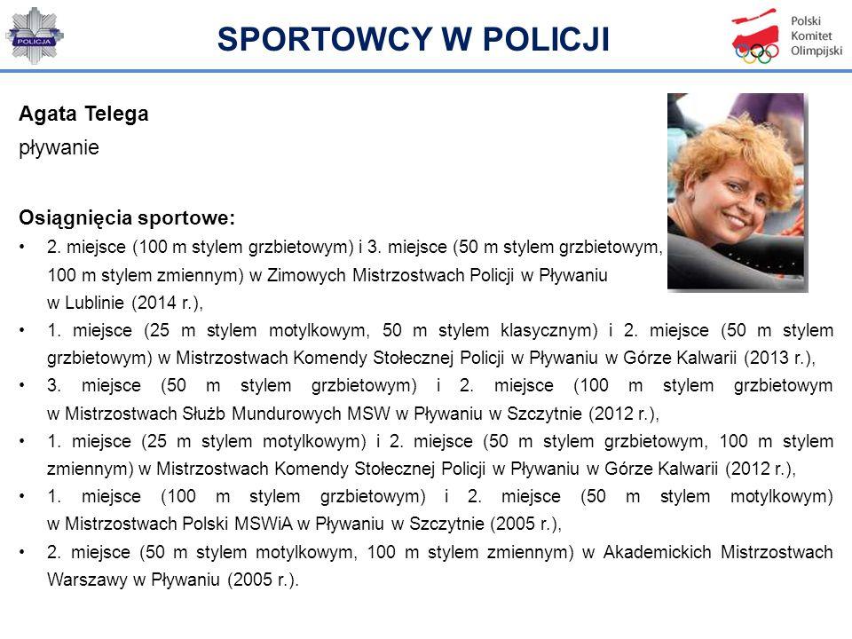 Agata Telega pływanie Osiągnięcia sportowe: 2. miejsce (100 m stylem grzbietowym) i 3. miejsce (50 m stylem grzbietowym, 100 m stylem zmiennym) w Zimo