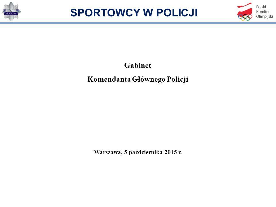 Gabinet Komendanta Głównego Policji Warszawa, 5 października 2015 r. SPORTOWCY W POLICJI