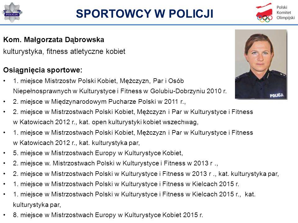 Kom. Małgorzata Dąbrowska kulturystyka, fitness atletyczne kobiet Osiągnięcia sportowe: 1. miejsce Mistrzostw Polski Kobiet, Mężczyzn, Par i Osób Niep
