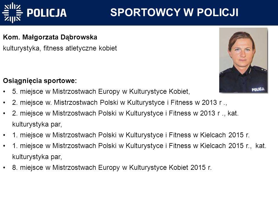 Kom. Małgorzata Dąbrowska kulturystyka, fitness atletyczne kobiet Osiągnięcia sportowe: 5. miejsce w Mistrzostwach Europy w Kulturystyce Kobiet, 2. mi