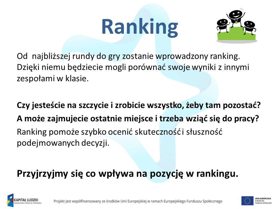 Od najbliższej rundy do gry zostanie wprowadzony ranking.