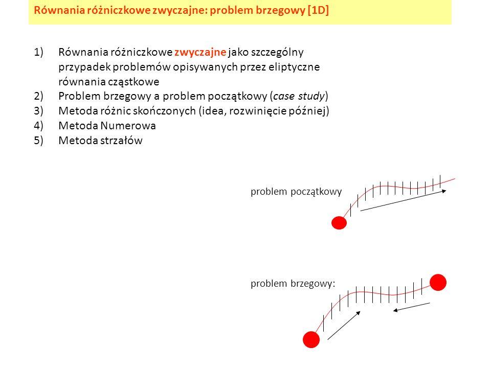 1)Równania różniczkowe zwyczajne jako szczególny przypadek problemów opisywanych przez eliptyczne równania cząstkowe 2)Problem brzegowy a problem pocz