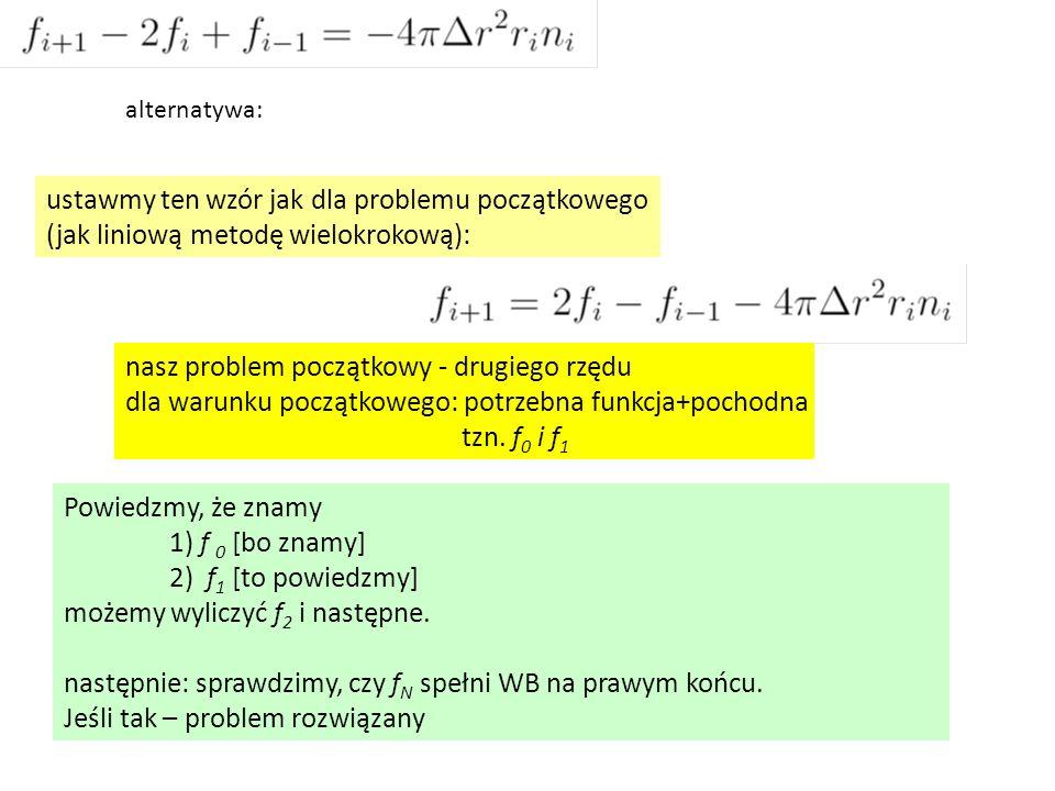 Powiedzmy, że znamy 1) f 0 [bo znamy] 2) f 1 [to powiedzmy] możemy wyliczyć f 2 i następne. następnie: sprawdzimy, czy f N spełni WB na prawym końcu.