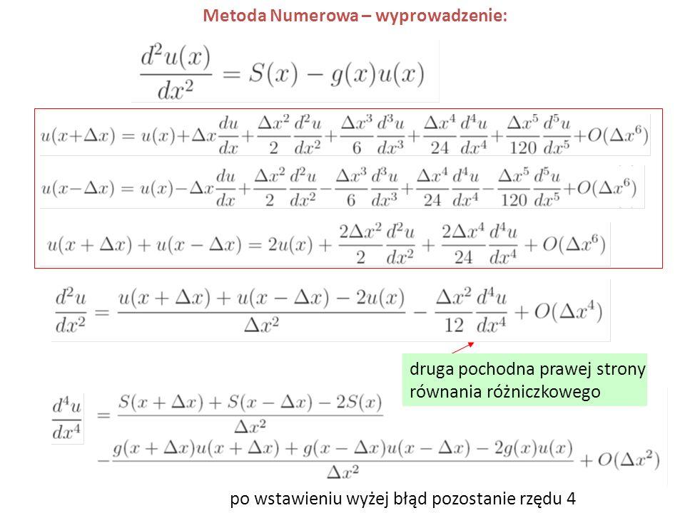 Metoda Numerowa – wyprowadzenie: po wstawieniu wyżej błąd pozostanie rzędu 4 druga pochodna prawej strony równania różniczkowego