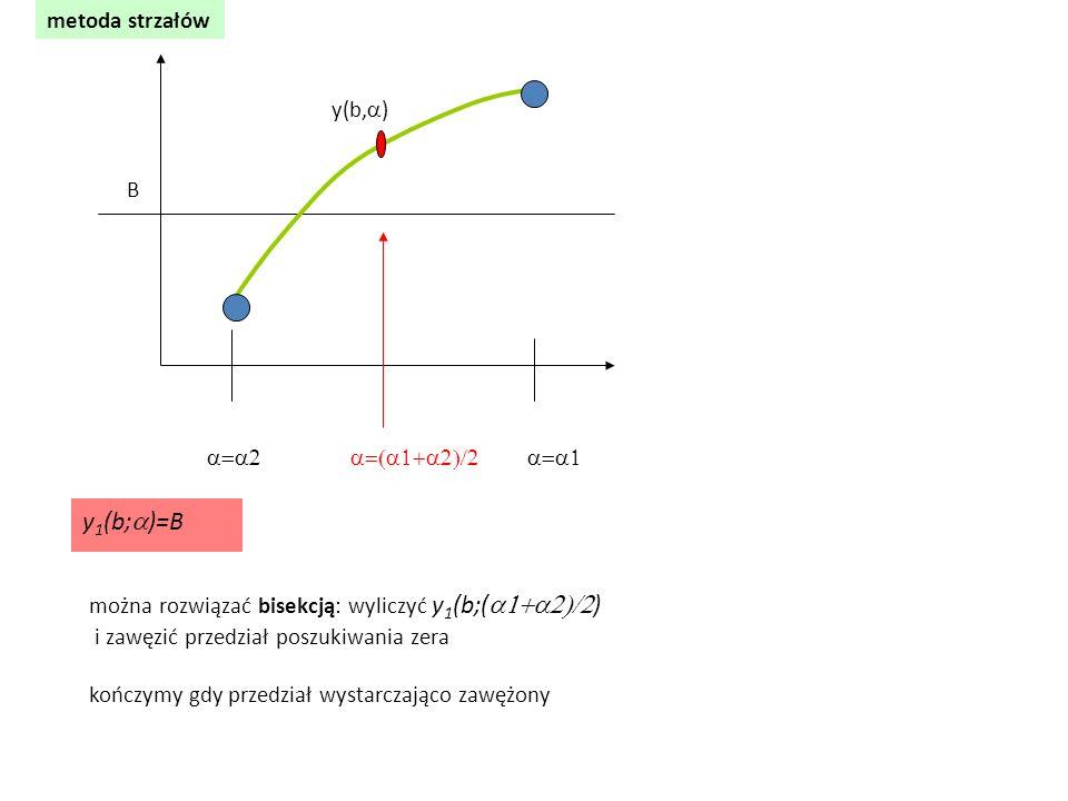 metoda strzałów  y(b,  ) B y 1 (b;  )=B można rozwiązać bisekcją: wyliczyć y 1 (b;(  ) i zawęzić p
