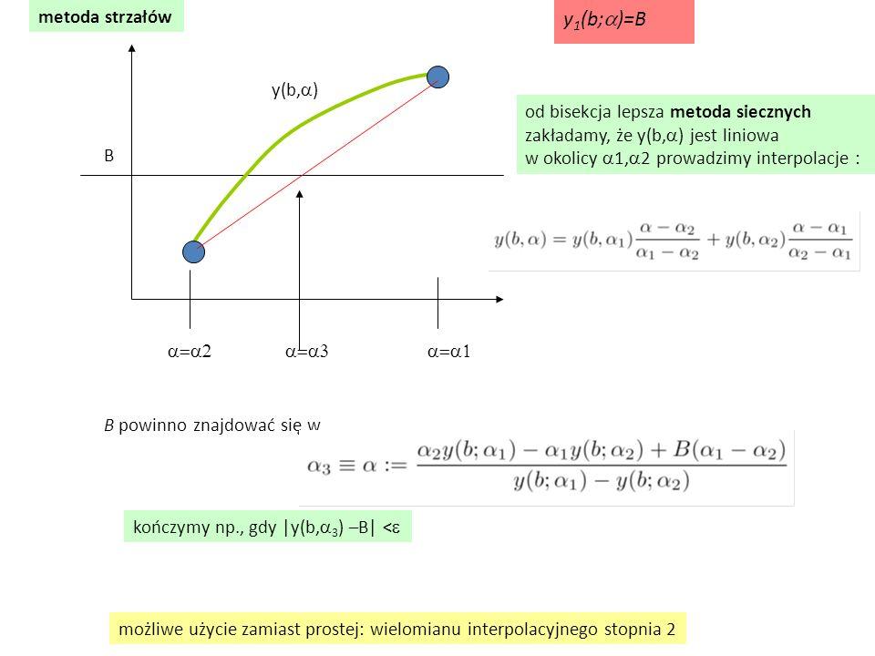 metoda strzałów  y(b,  ) B od bisekcja lepsza metoda siecznych zakładamy, że y(b,  ) jest liniowa w o