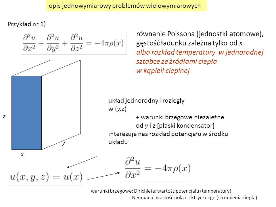 x z y układ jednorodny i rozległy w (y,z) + warunki brzegowe niezależne od y i z [płaski kondensator] interesuje nas rozkład potencjału w środku układ