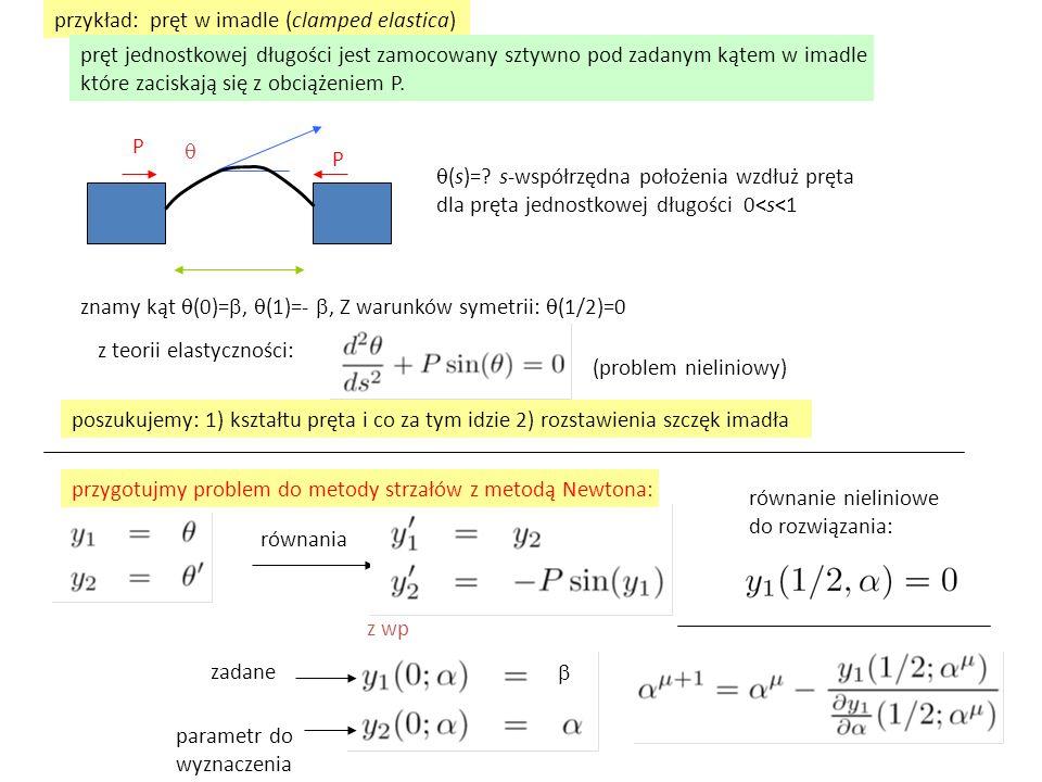przykład: pręt w imadle (clamped elastica) P P   (s)=? s-współrzędna położenia wzdłuż pręta dla pręta jednostkowej długości 0<s<1 znamy kąt  (0)= 