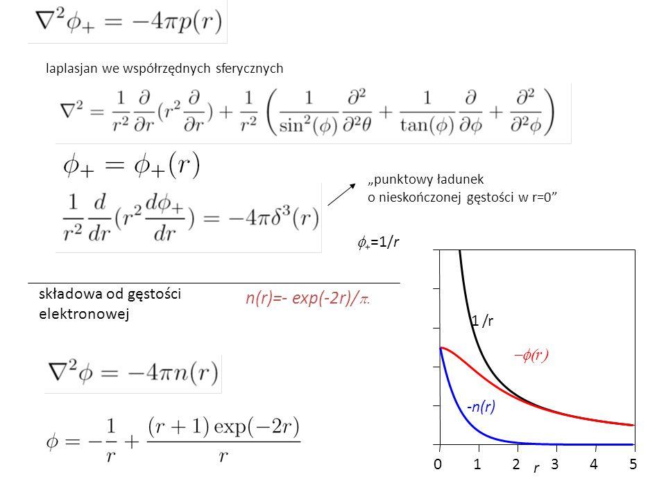 """""""punktowy ładunek o nieskończonej gęstości w r=0"""" laplasjan we współrzędnych sferycznych  + =1/r 012345 r -n(r) 1/r  r  składowa od gęstości elek"""