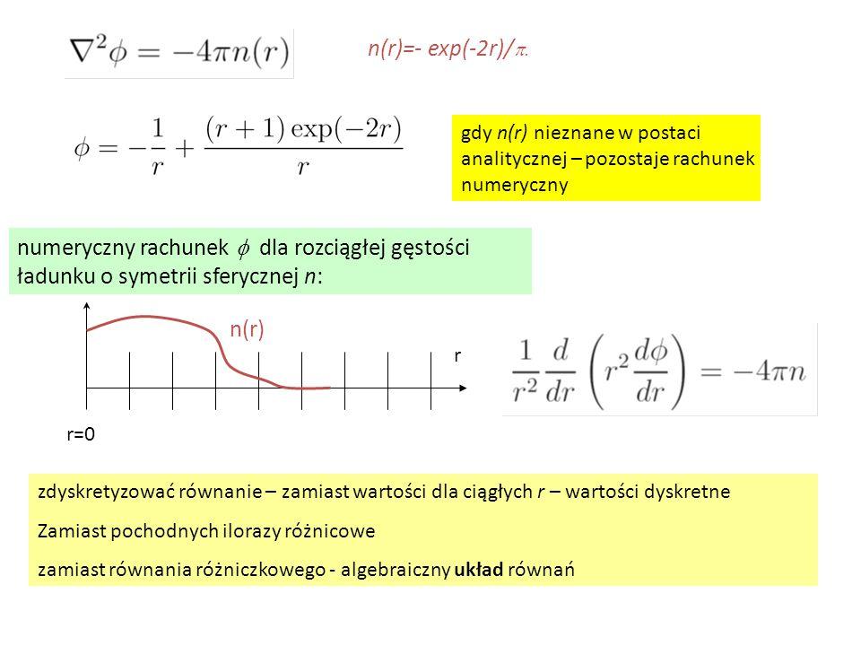 gdy n(r) nieznane w postaci analitycznej – pozostaje rachunek numeryczny n(r)=- exp(-2r)/  numeryczny rachunek  dla rozciągłej gęstości ładunku o
