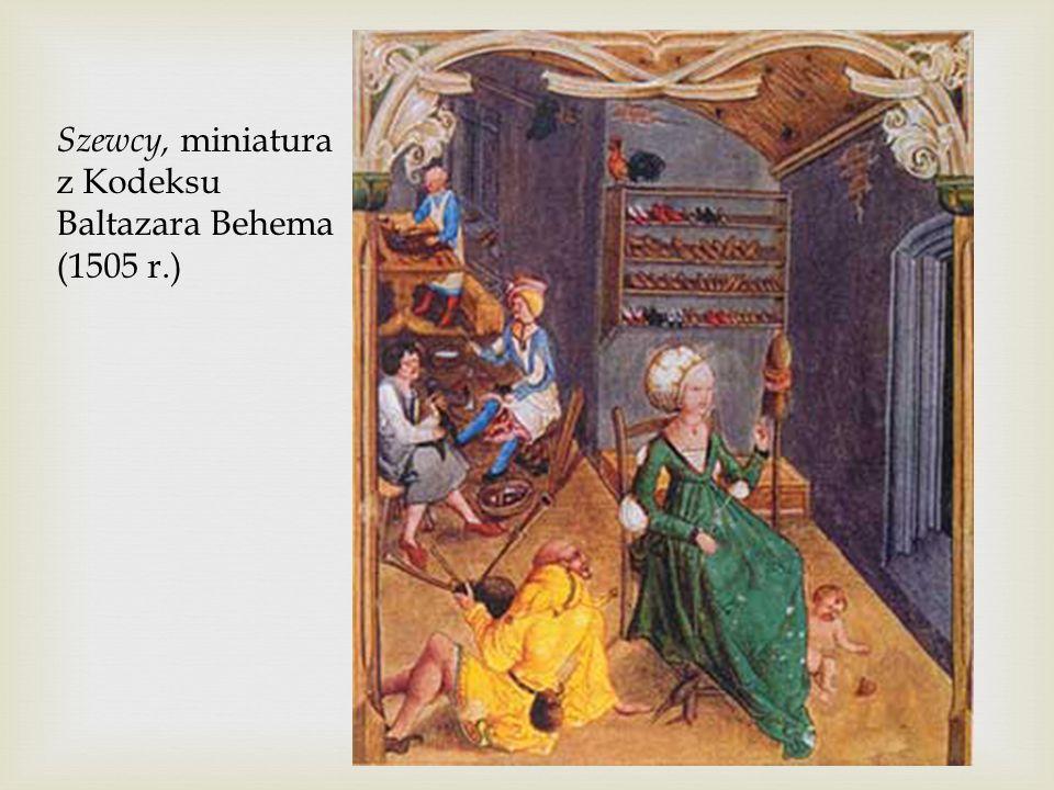 Szewcy, miniatura z Kodeksu Baltazara Behema (1505 r.)