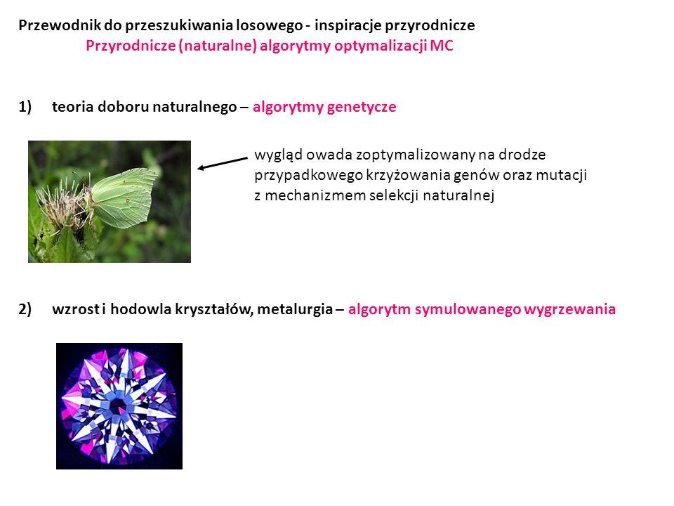 Przewodnik do przeszukiwania losowego - inspiracje przyrodnicze Przyrodnicze (naturalne) algorytmy optymalizacji MC 1)teoria doboru naturalnego – algorytmy genetycze 2)wzrost i hodowla kryształów, metalurgia – algorytm symulowanego wygrzewania wygląd owada zoptymalizowany na drodze przypadkowego krzyżowania genów oraz mutacji z mechanizmem selekcji naturalnej