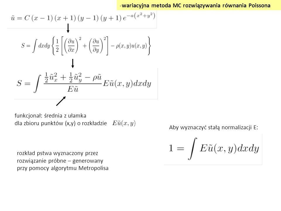 Aby wyznaczyć stałą normalizacji E: funkcjonał: średnia z ułamka dla zbioru punktów (x,y) o rozkładzie -wariacyjna metoda MC rozwiązywania równania Poissona rozkład pstwa wyznaczony przez rozwiązanie próbne – generowany przy pomocy algorytmu Metropolisa