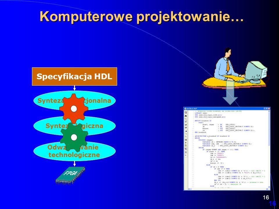 16 Specyfikacja HDL Synteza funkcjonalna Synteza logiczna Odwzorowanie technologiczne 16 Komputerowe projektowanie…
