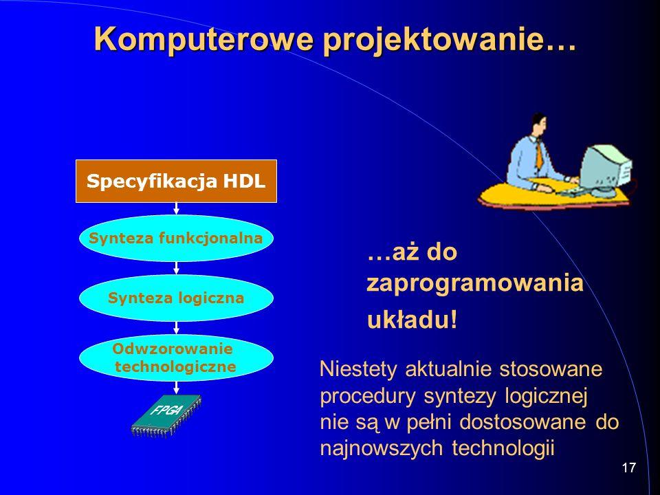 Specyfikacja HDL Synteza funkcjonalna Synteza logiczna Odwzorowanie technologiczne 17 Komputerowe projektowanie… …aż do zaprogramowania układu! Nieste
