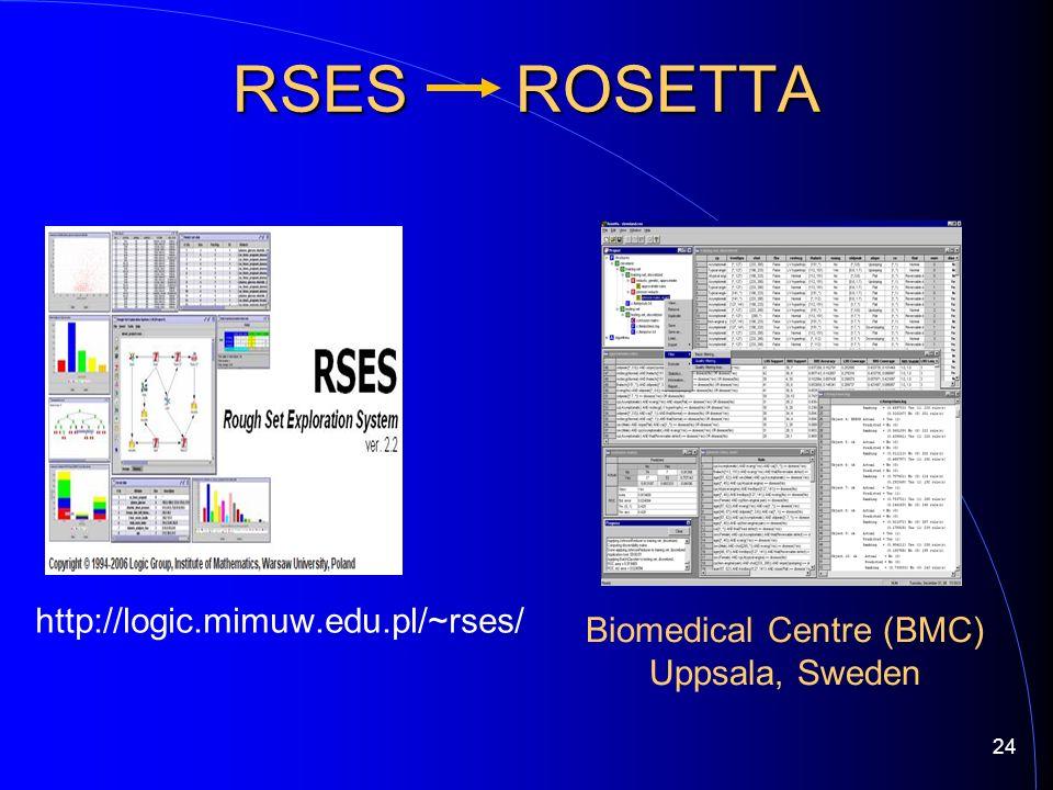 http://logic.mimuw.edu.pl/~rses/ RSES ROSETTA Biomedical Centre (BMC) Uppsala, Sweden 24
