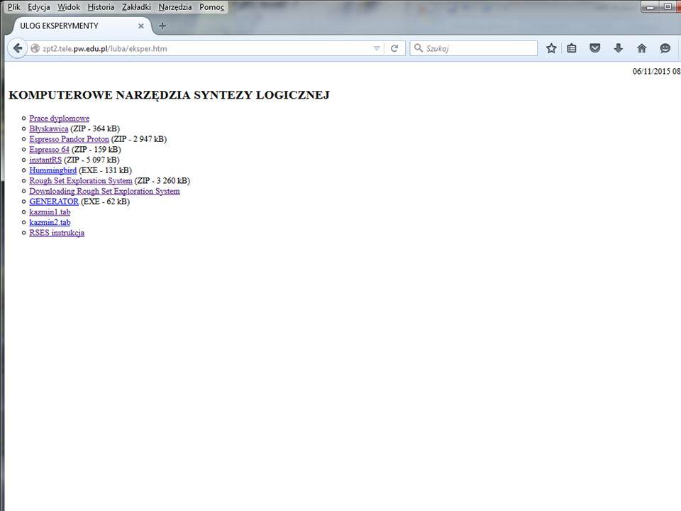 Realizacja funkcji F w systemie Quartus QuartusII 23 komórki (Stratix) LIBRARY ieee; USE ieee.std_logic_1164.ALL; ENTITY tl27 IS PORT ( in: IN STD_LOGIC_VECTOR(9 DOWNTO 0); out: OUT STD_LOGIC_VECTOR(0 DOWNTO 0) ); END tl27; ARCHITECTURE tl27_arch OF tl27 IS BEGIN pandor: PROCESS (in) BEGIN CASE in IS WHEN 0010111010 => out <= 0 ; WHEN 1010010100 => out <= 0 ; WHEN 0100011110 => out <= 0 ; WHEN 1011101011 => out <= 0 ; WHEN 1100010011 => out <= 0 ; WHEN 0100010110 => out <= 0 ; WHEN 1110100110 => out <= 0 ; WHEN 0100110000 => out <= 0 ; WHEN 0101000010 => out <= 0 ; WHEN 0111111011 => out <= 1 ; WHEN 0000010100 => out <= 1 ; WHEN 1101110011 => out <= 1 ; WHEN 0100100000 => out <= 1 ; WHEN 0100011111 => out <= 1 ; WHEN 0010000110 => out <= 1 ; WHEN 1111010001 => out <= 1 ; WHEN 1111101001 => out <= 1 ; WHEN 1111111111 => out <= 1 ; WHEN 0010000000 => out <= 1 ; WHEN 1101100111 => out <= 1 ; WHEN 0010001111 => out <= 1 ; WHEN 1111100010 => out <= 1 ; WHEN 1010111101 => out <= 1 ; WHEN 0110000110 => out <= 1 ; WHEN 0100111000 => out <= 1 ; WHEN OTHERS => out <= 0 ; END CASE; END PROCESS pandor; END tl27_arch; 20