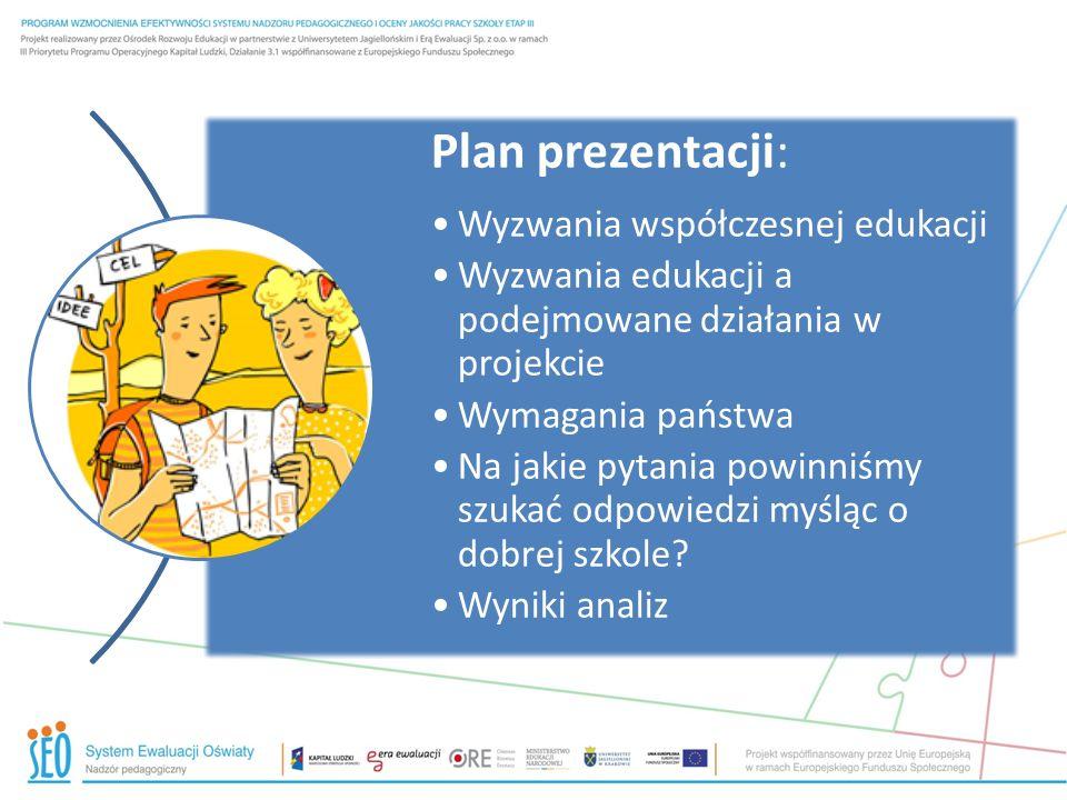 Plan prezentacji: Wyzwania współczesnej edukacji Wyzwania edukacji a podejmowane działania w projekcie Wymagania państwa Na jakie pytania powinniśmy szukać odpowiedzi myśląc o dobrej szkole.