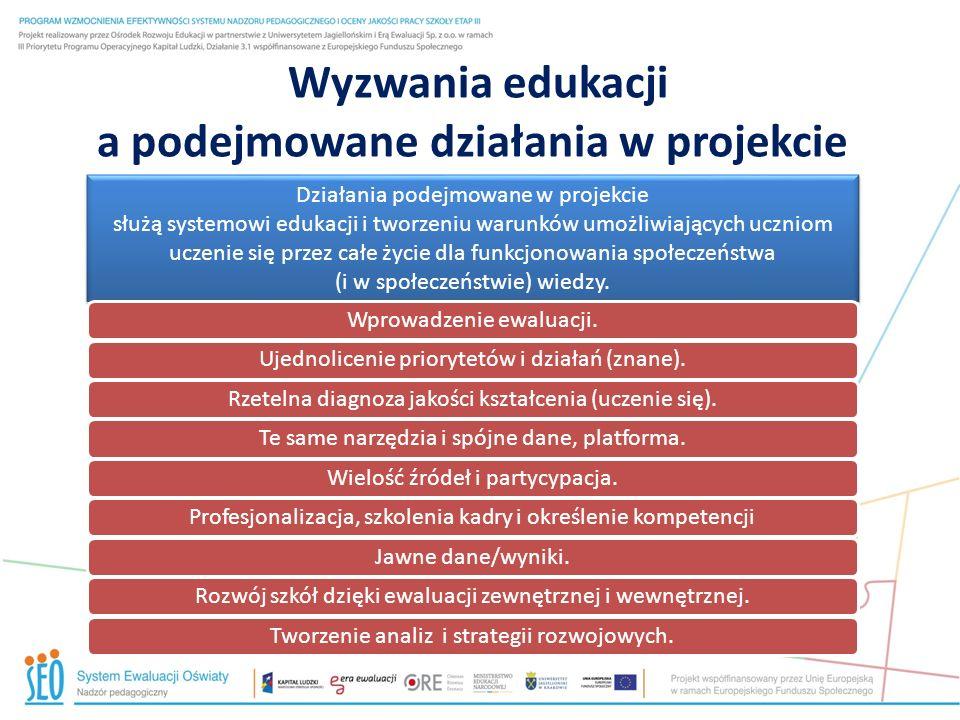 Wyzwania edukacji a podejmowane działania w projekcie Działania podejmowane w projekcie służą systemowi edukacji i tworzeniu warunków umożliwiających uczniom uczenie się przez całe życie dla funkcjonowania społeczeństwa (i w społeczeństwie) wiedzy.
