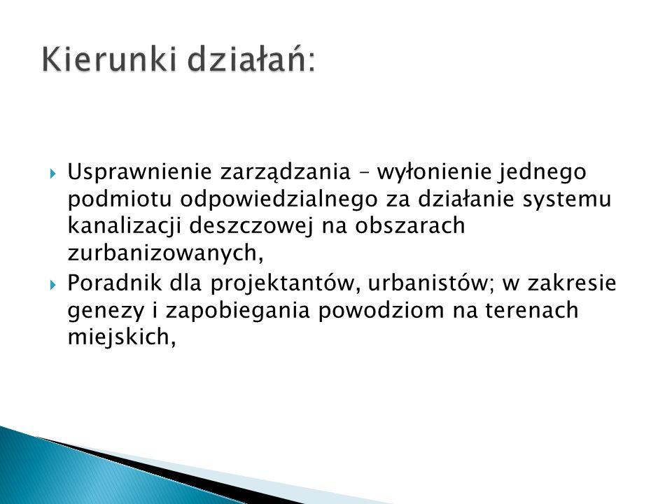  Usprawnienie zarządzania – wyłonienie jednego podmiotu odpowiedzialnego za działanie systemu kanalizacji deszczowej na obszarach zurbanizowanych, 