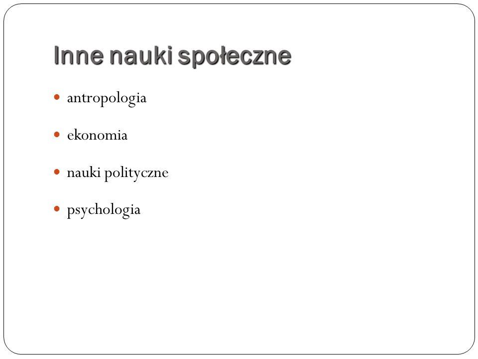 Inne nauki społeczne antropologia ekonomia nauki polityczne psychologia